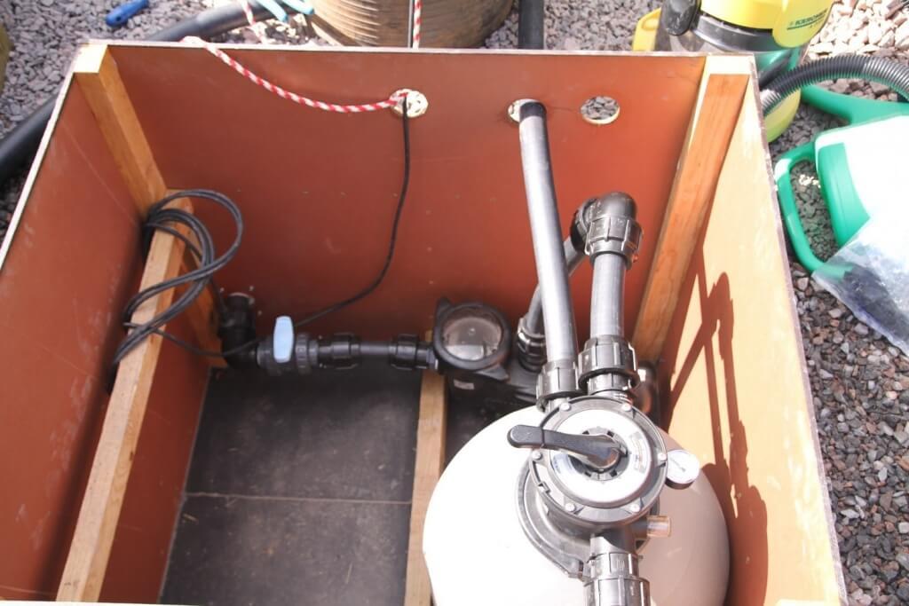Kiertovesipumppu ja hiekkasuodatin maahan upotetussa konehuoneessa
